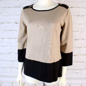 Cable & Gauge    Black/Tan Color-Block Sweater Top